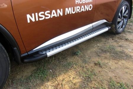 "Nissan MURANO 2016- Пороги алюминиевые ""Standart Silver"" 1800 серебристые"